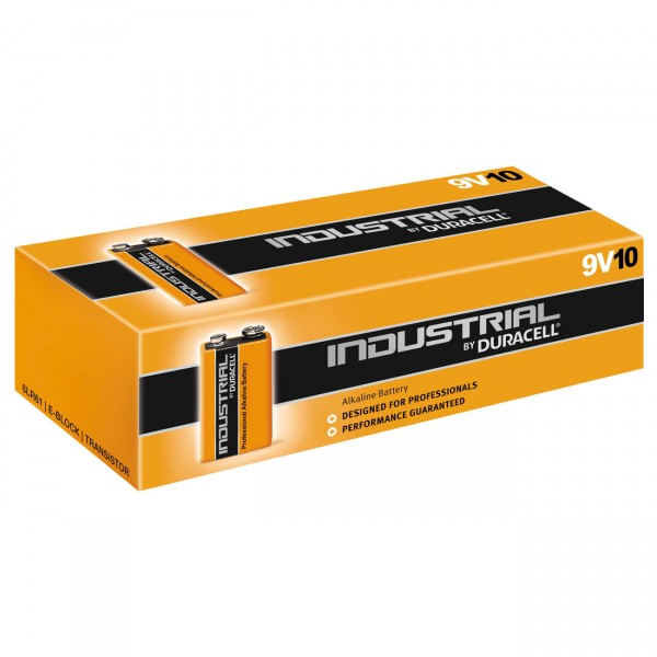 10er Pack - Duracell Industrial Batterien - MN1604 9V-Block Alkaline - 6LR61