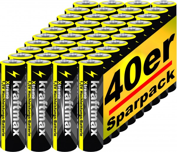Kraftmax 40er Pack Mignon AA 1,5V Alkaline Batterie - Xtreme Industrial Longlife Performance - Hochl