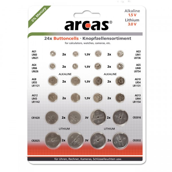Arcas Knopfzellenset 24-teilig Mix Alkaline und Lithium