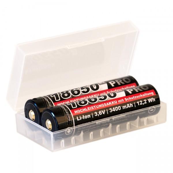 2x Kraftmax 18650 Pro USB Hochleistungsakku Li-Ion 3,6V / 3400mAh in Box inkl. USB Anschluss