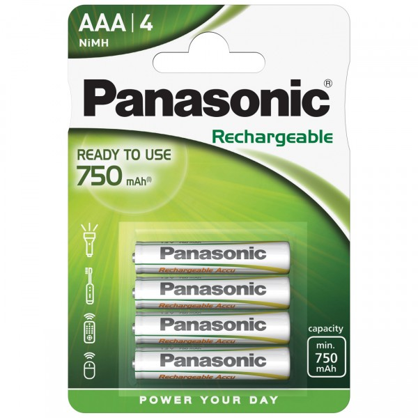 4er Blister Panasonic Ready to Use Micro AAA Akku - 1,2V / 750mAh / NIMH