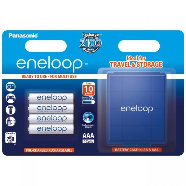 4er Blister Panasonic eneloop Micro Akku - 1,2V / 800mAh / NIMH - 1,2 Volt AAA Ni-MH Akkus inkl. Akk