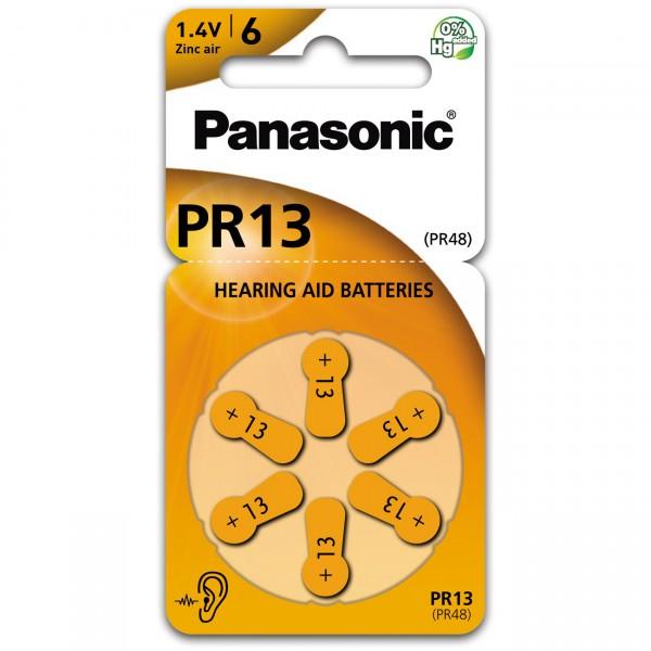 6er Rad Panasonic Hörgerätebatterie PR-13 - 1,45V / 300mAh - Zink Air Hörgeräte Batterie