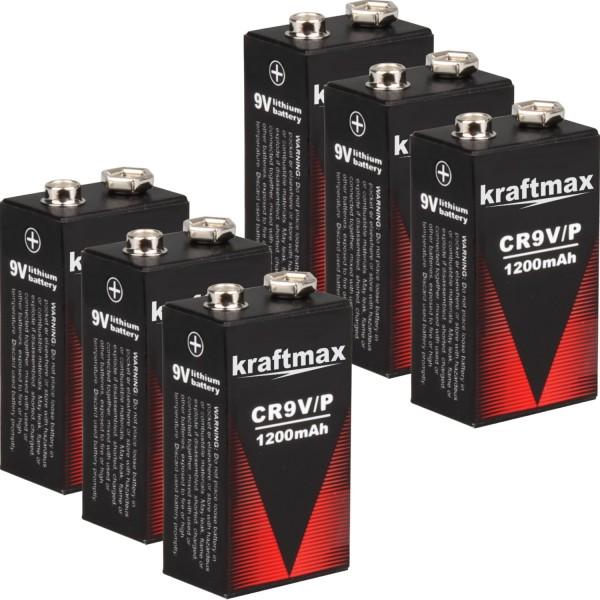 6x Kraftmax 9V Block Lithium Hochleistungs- Longlife Batterien für Rauchmelder / Feuermelder - 10 J