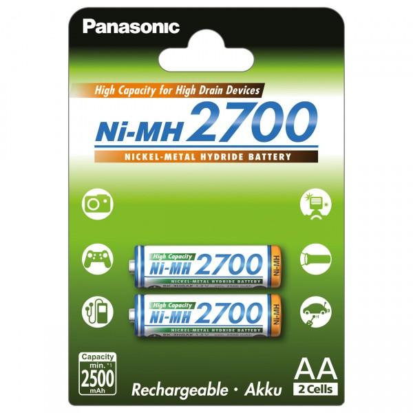 2er Blister Panasonic Mignon Akku - BK-3HGAE - 1,2V / 2700mAh /NIMH - 1,2 Volt AA Ni-MH