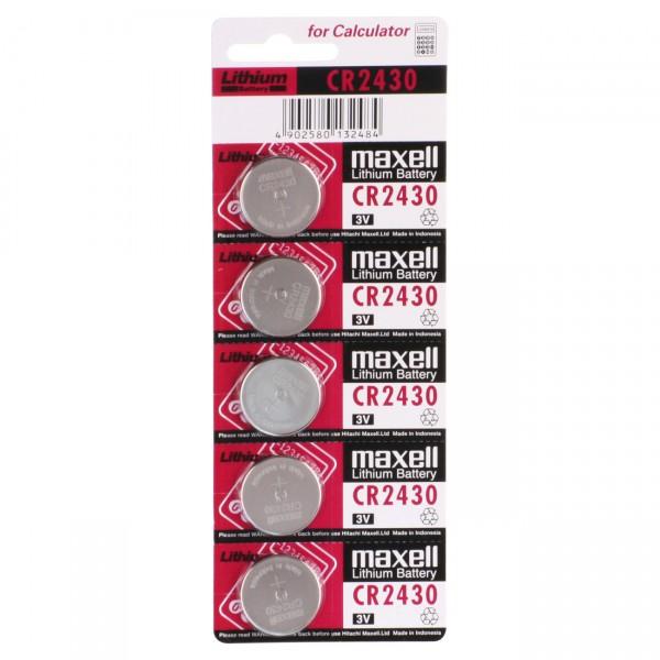 5er Blister - Maxell Lithium-Batterie CR2430 Lithium - 3V / 290mAh - 3 Volt CR 2430 Knopfzelle