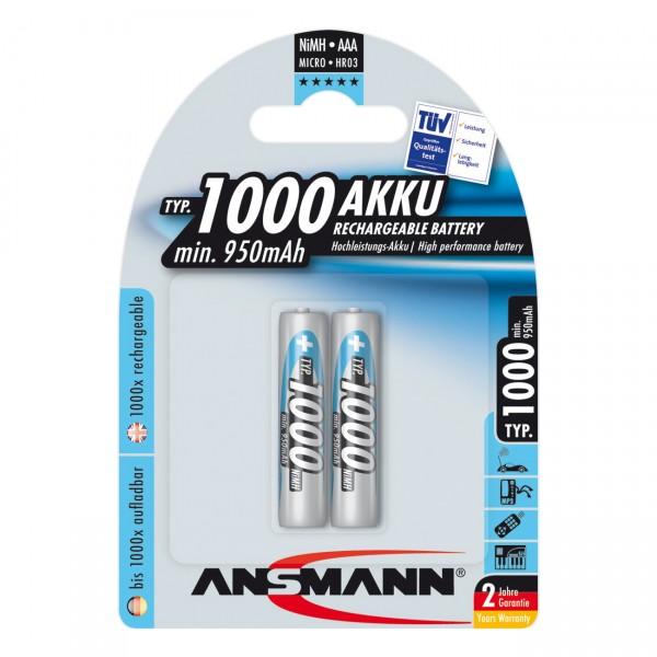 2er Blister Ansmann Micro AAA Akku - 1,2V / 1000mAh / Ni-MH