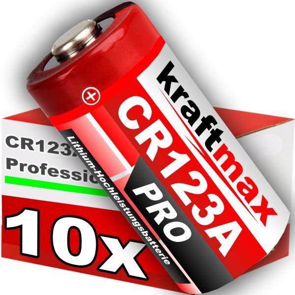 Kraftmax 10er Pack CR123 / CR123A Lithium Hochleistungs- Batterie für professionelle Anwendungen - N