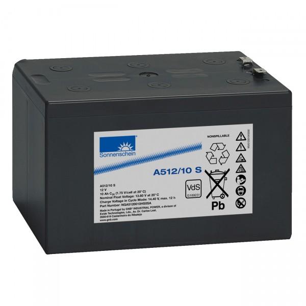 Sonnenschein Blei-Akku Dryfit A512/10,0S - 12V / 10000mAh Bleiakku mit VdS Zulassung Faston 4,8mm