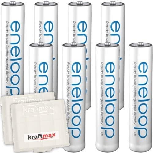 8er Pack Panasonic Eneloop AAA/Micro Akkus - Neueste Generation - Hochleistungs Akku Batterien in Kr