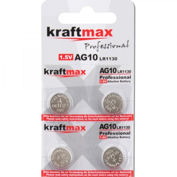 Kraftmax 4er Pack Knopfzelle Typ 389 (AG10 / LR1130 / LR54) Hochleistungs- Batterie / 1,5V Uhrenbatt