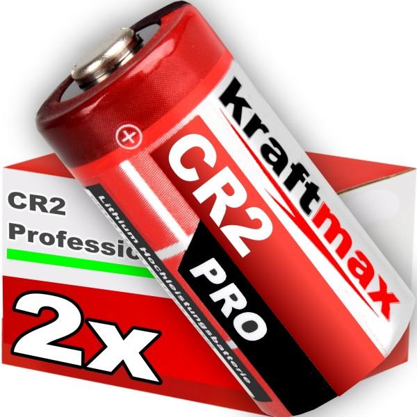 Kraftmax 2er Pack CR2 Lithium Hochleistungs- Batterie für professionelle Anwendungen - Neueste Gener
