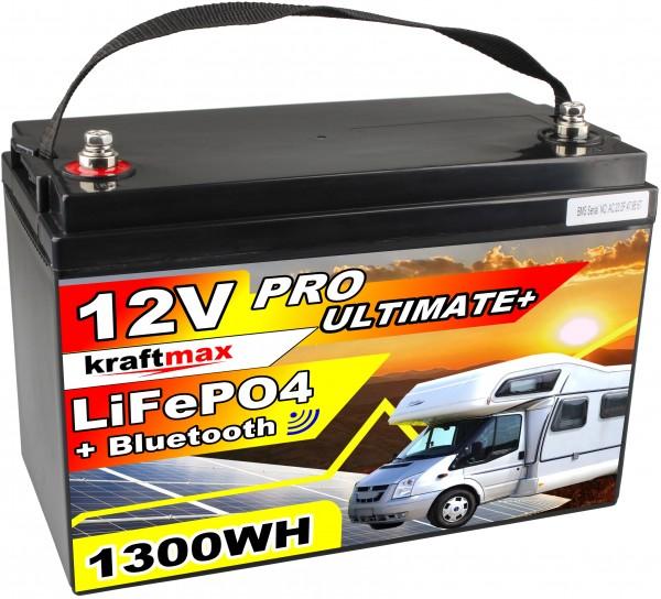 kraftmax 12V / 102AH LiFePO4 Hochleistungs- Akku inkl. Bluetooth