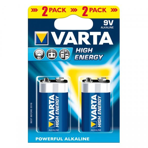 2er Blister Varta 4922 Longlife Power 9V Block Batterie - 9 Volt / 580mAh Alkaline Blockbatterie