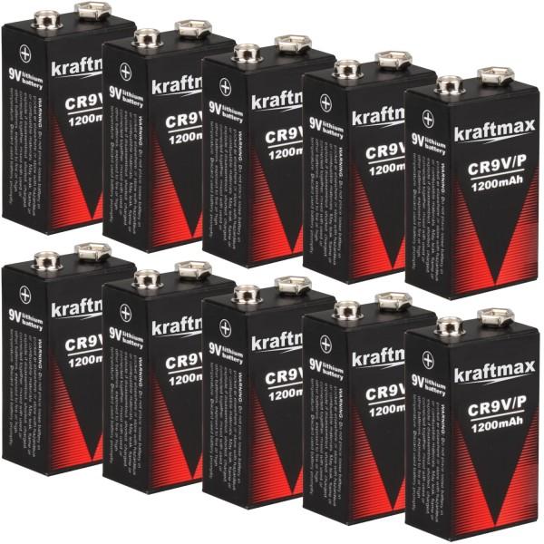 10x Kraftmax 9V Block Lithium Hochleistungs- Longlife Batterien für Rauchmelder / Feuermelder - 10 J
