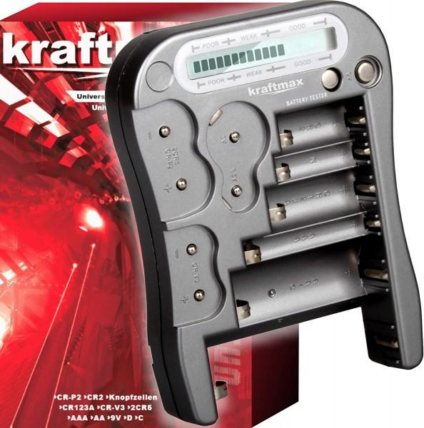 Kraftmax Universal Batterie- & Akkutester LX-5900 im Blister mit Display Inkl. AAA Batterie