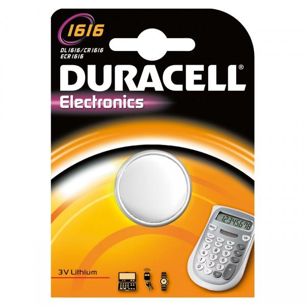 1er Blister Duracell Lithium-Knopfzelle CR1616 - 3V / 45mAh - 3 Volt Lithium CR 1616 Batterie