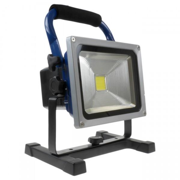 XCell LED Baustrahler - 20W Arbeitsleuchte mit Kfz-Ladekabel u. 230V Ladenetzteil
