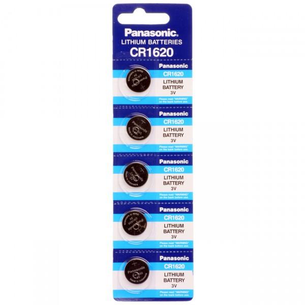 5er Blister Panasonic Lithium-Knopfzelle CR1620 - 3V / 68mAh - 3 Volt Lithium CR 1620 Batterie