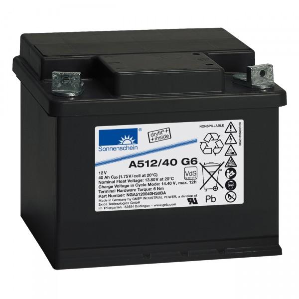 Sonnenschein Dryfit Blei-Akku - A512/40G6 - Blei Akku mit M6 Innengewinde und VdS Zulassung