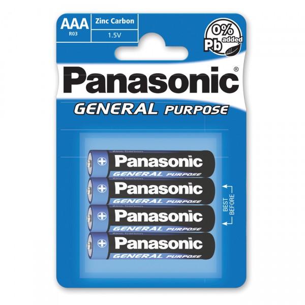 4er Blister Panasonic General Purpose Zn/C Micro Batterie R03BE - 4x1,5 Volt AAA Zink Kohle
