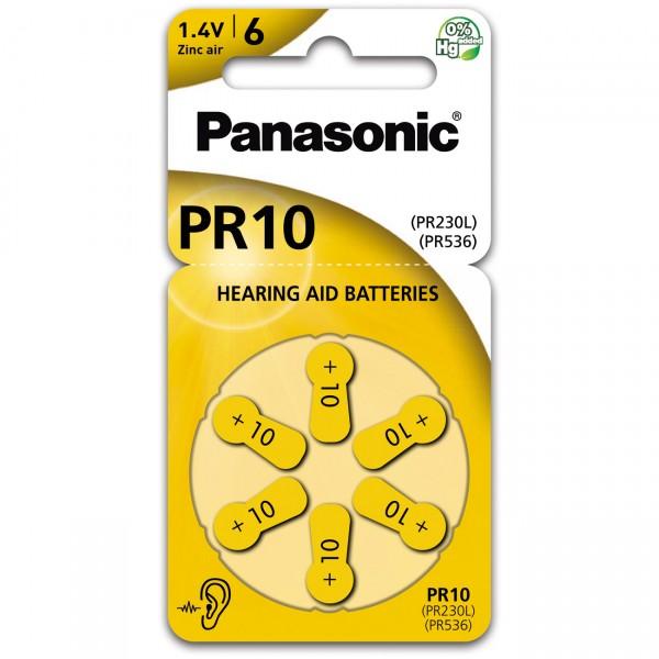 6er Rad Panasonic Hörgerätebatterie PR-10L - 1,45V / 100mAh - Zink Luft Hörgeräte Batterie