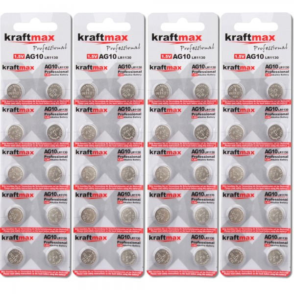 Kraftmax 40er Pack Knopfzelle Typ 389 (AG10 / LR1130 / LR54) Hochleistungs- Batterie / 1,5V Uhrenbat