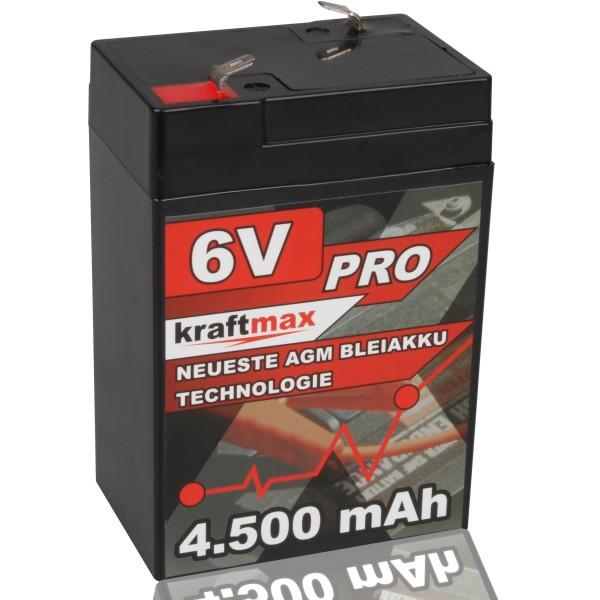 Kraftmax Industrial Pro Bleiakku [ 6V / 4,5Ah ] AGM Hochleistungs- Blei Akku der Neusten Generation
