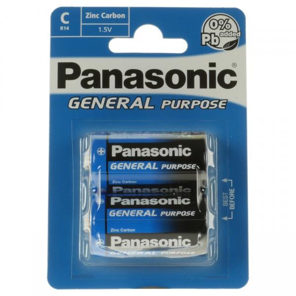 2er Blister Panasonic General Purpose Baby C Batterie - R14BE/2BP - 1,5 Volt Zn/C BabyC