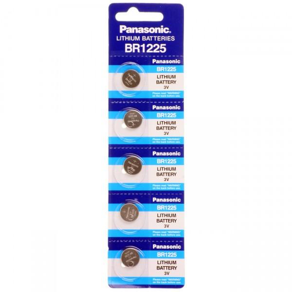 5er Blister Panasonic Lithium-Knopfzelle BR1225 Lithium - 3V / 48mAh - 3 Volt BR 1225 Batterie