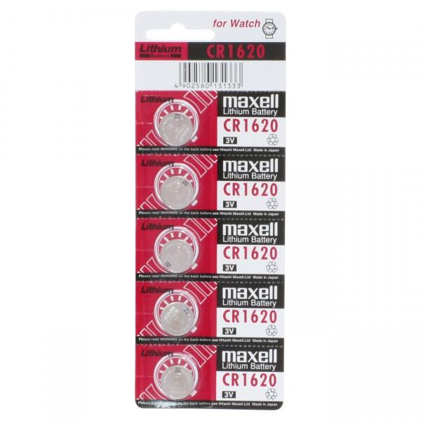 5er Blister Maxell Lithium-Knopfzelle CR1620 Lithium - 3V / 68mAh - 3 Volt CR 1620 Batterie