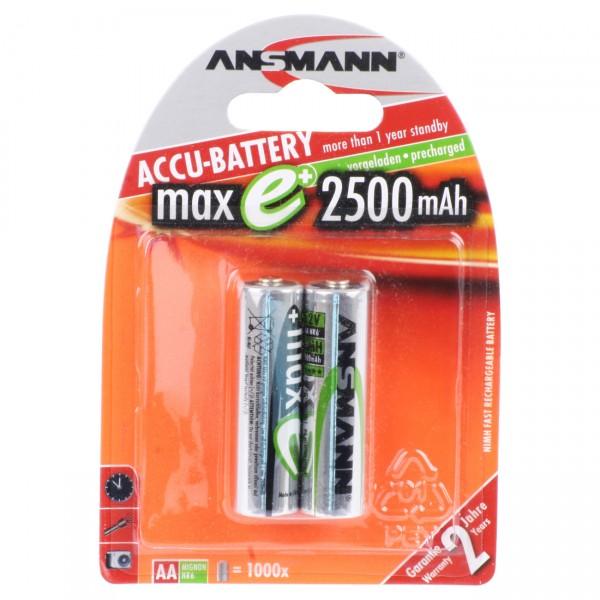 Ansmann maxE plus Akku Mignon AA Ni-MH 1,2V / 2500mAh 2er Blister