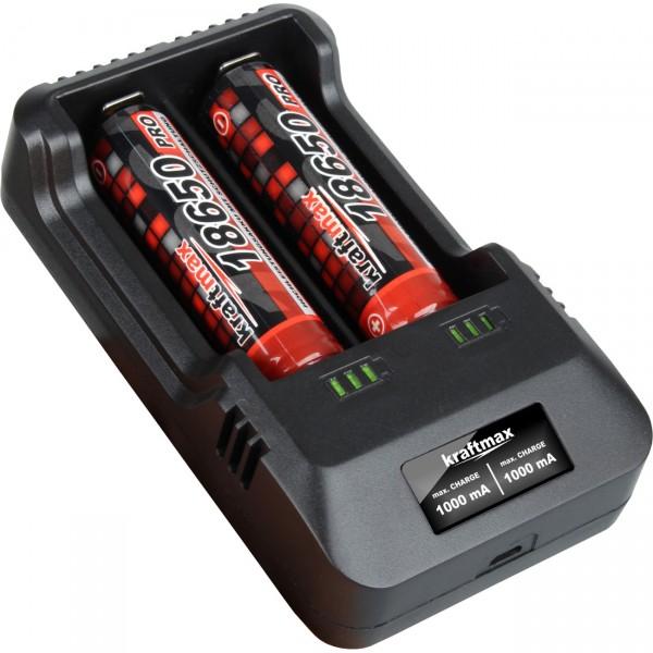 BC-2000 USB Akku Ladegerät - 3,7V Lithium und Mignon AA | Micro AAA NIMH Akkus