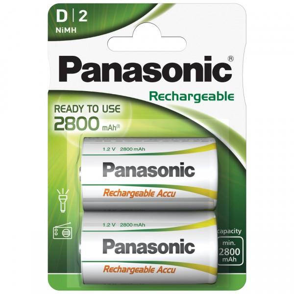2er Blister Panasonic Rechargeable Mono D Akku - HHR-1SRE/2B - 1,2V / 2800mAh / NIMH