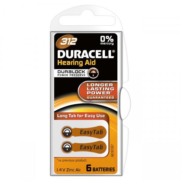 6er Pack Duracell Hörgerätebatterie 312AC - 1,45V / 160mAh - Zink Luft Hörgeräte Batterie