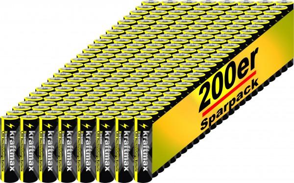 Kraftmax 200er Pack Mignon AA 1,5V Alkaline Batterie - Xtreme Industrial Longlife Performance - Hoch